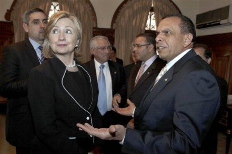 In this handout picture released by the Guatemalan Presidency, Hondura's President Porfirio Lobo talks with U.S. Secretary of State Hillary Rodham Clinton in Guatemala City, Friday, March 5, 2010. Clinton is on a one-day official visit to Guatemala. (AP Photo/Guatemala Presidency/Handout)